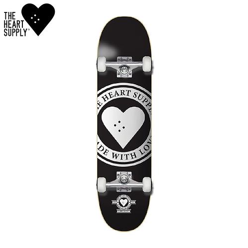 "HEART SUPPLY LOGO 7.75"" BADGE BLACK - COMPLETE SKATEBOARD"