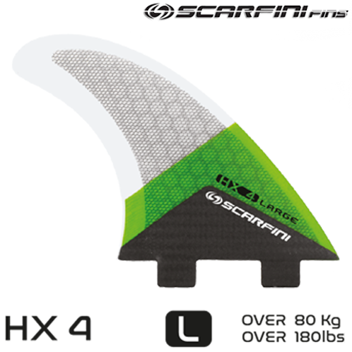 SCARFINI HX 4 CARBON BASE DUAL TAB FINS (L) (THRUSTER)