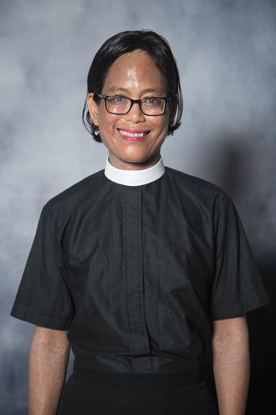 Women's Clergy Shirt-Neckband Collar Short Sleeve Blouse