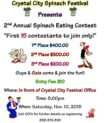 Spinach Eating Contest advertisement for