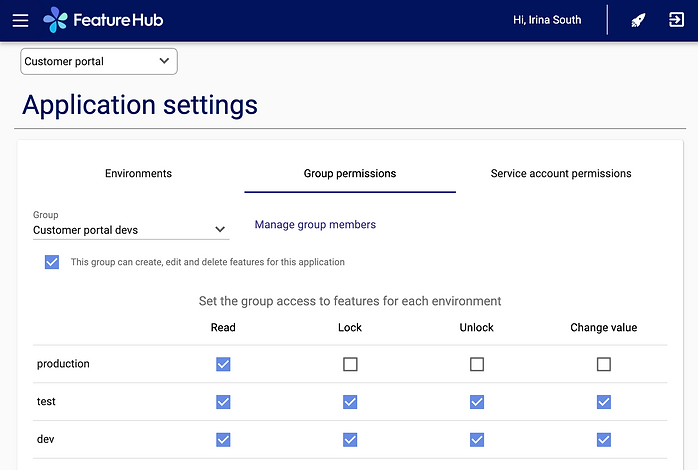 FeatureHub - Free Feature Flags management platform - Permissions and access settings