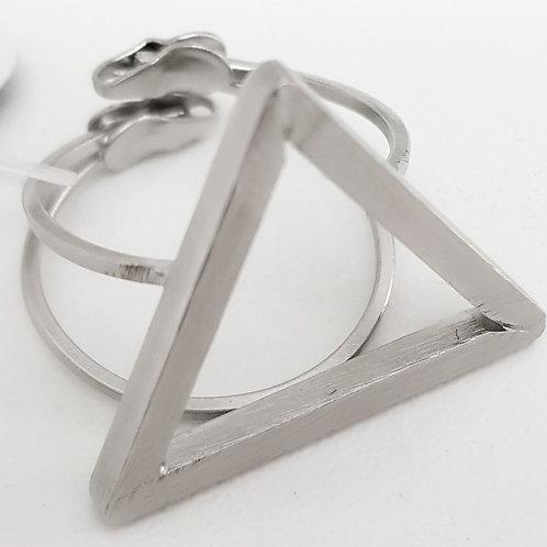 Anel Folhado Fosco Formato Triângulo