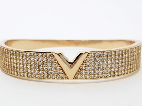 Bracelete Folhado a Ouro Cravejado de Zirconias com Detalhe Central Liso