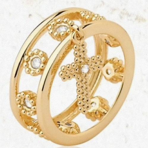 Anel Folhado a Ouro, Detalhes com Zirconias, Pingente de Crucifixo