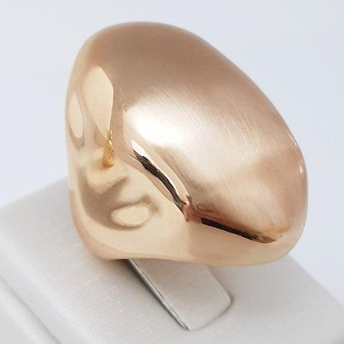Anel Oval Folhado a Ouro Topo Fosco Lateral Brilho