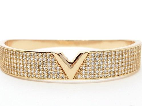 Bracelete Folheado a Ouro Cravejado de Zirconias com Detalhe Central Liso