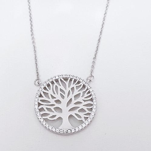 Colar Folhado a Rodio Branco com Pingente Mandala Árvore da Vida