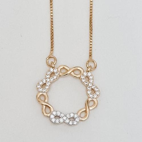 Colar Folhado a Ouro com Pingente Mandala com Mini Simbolos do Infinito