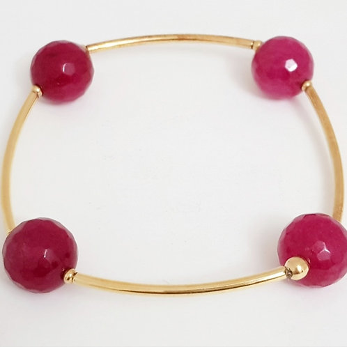 Pulseira Folhada a Ouro com Pedra Agata Pink Lapidada
