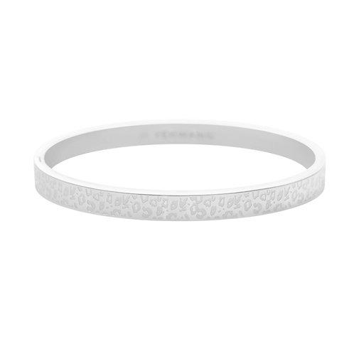 Leopard spots bangle armband in RVS zilver/goud (breder model)