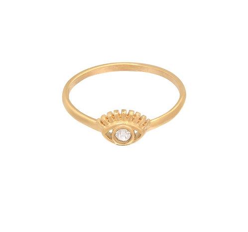 Tiny eye - ring in RVS goud