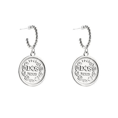 Elizabeth coin - earrings in silver