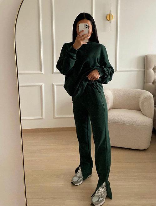 Tina - straight leg joggers in donkergroen