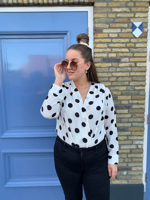 Polka dot dot - bodysuit met stippen (wit)