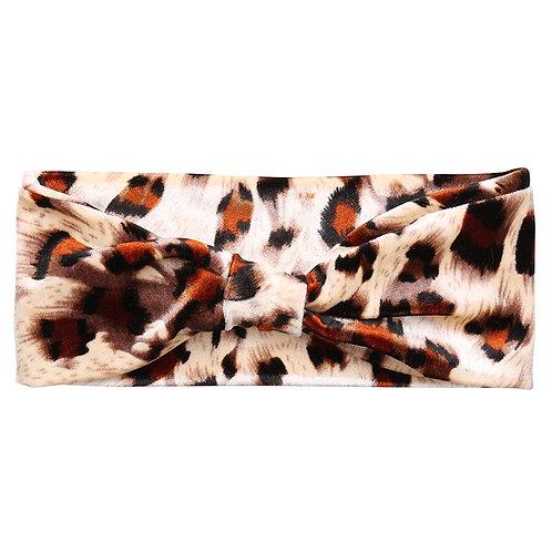 Leopard bow velvet headband