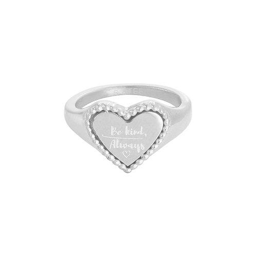 Be kind, always - ring met quote in hartjesvorm in RVS goud/zilver