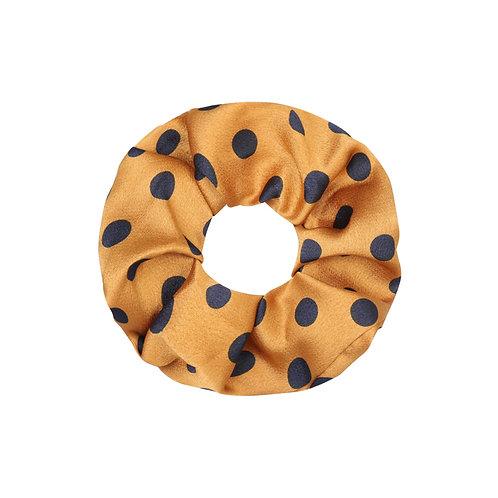 Satin dots scrunchie in geel-zwart