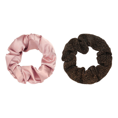 Scrunchie set van 2 - satin roze & glitter bruin