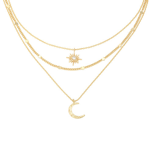 Chained star & moon - layer ketting in RVS zilver/goud