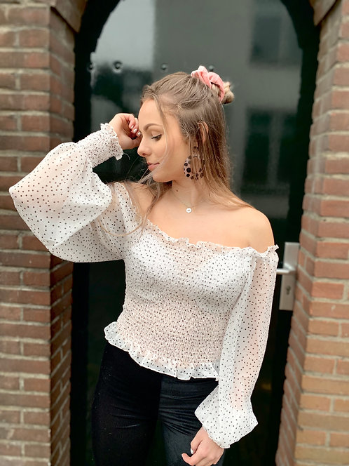 QUEEN OF DOTS - off-shoulder top met stippenprint