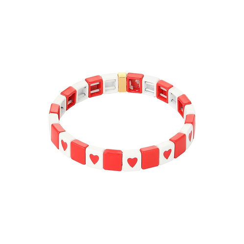 Colored heart bricks armband