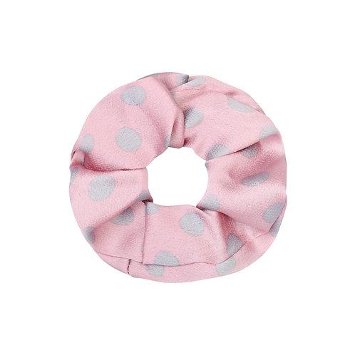 Satin dots scrunchie in roze-grijs