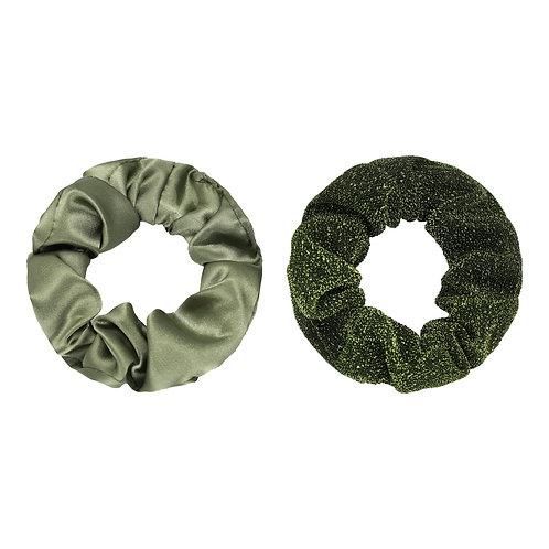 Scrunchie set van 2 - satin groen & glitter groen