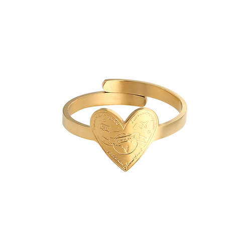Love to travel - ring in RVS goud/zilver