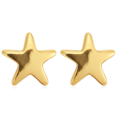 Shiny star earstuds in gold/silver