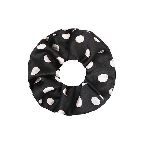 Satin dots scrunchie in zwart-wit