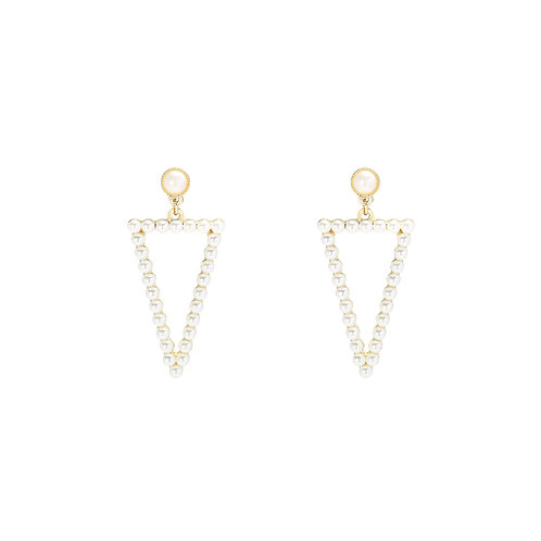 Triangle pearl - oorbellen met parels in goud