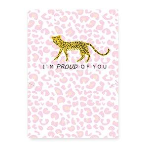I'M PROUD OF YOU - (sieraden) kaartje met leopard spots