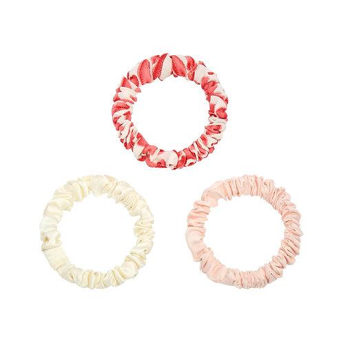 Set van 3 kleine scrunchies - wit, lichtroze, rood