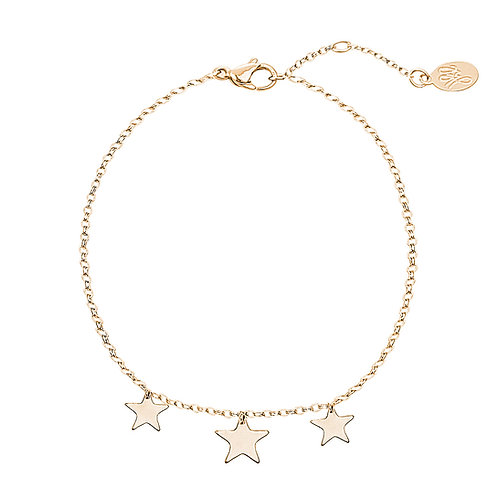 3 little stars - armband in RVS zilver/goud