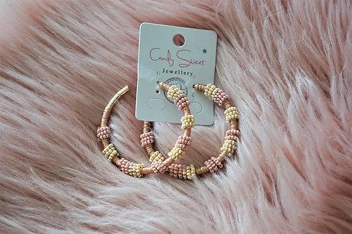 Pink dreams - oorbellen in goud