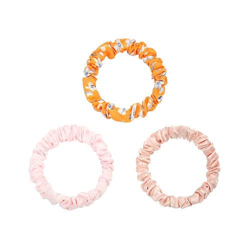 Set van 3 kleine scrunchies - lichtroze, oranje bloemen