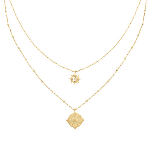 Compass star - layer necklace in RVS zilver/goud