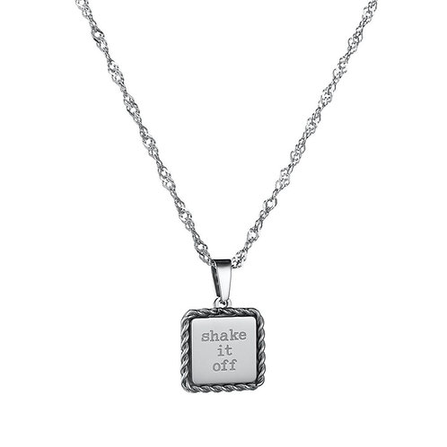 Shake it off - ketting met quote in RVS zilver/goud