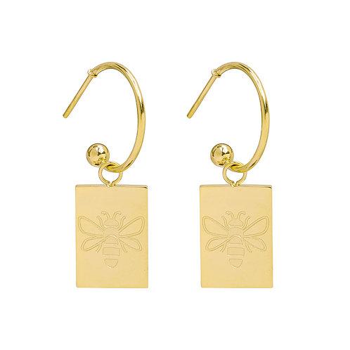 Queen bee - earrings in RVS gold/silver