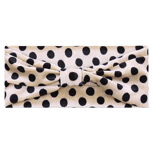 Velvet dots - headband in zwart-wit/beige-zwart