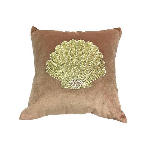 Velvet cushion embroidered shell