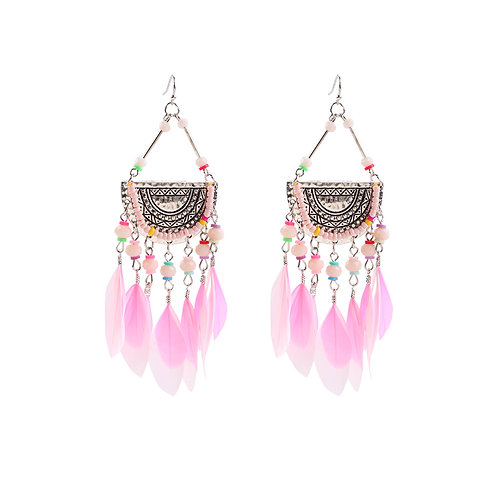 Pink feather earrings in silver