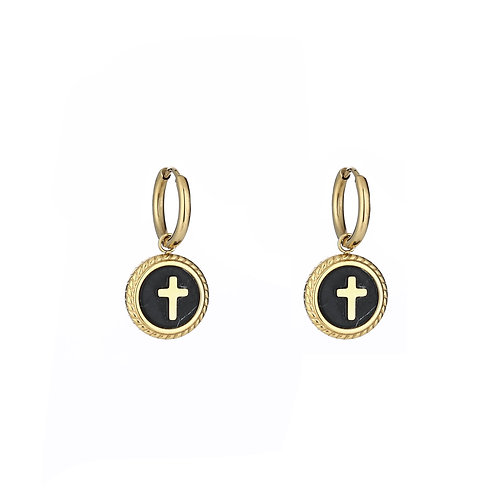 Black cross - oorbellen in RVS zilver/goud