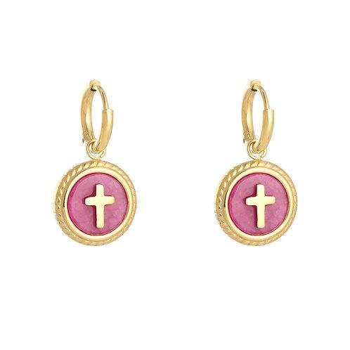 Pink cross - oorbellen in RVS goud