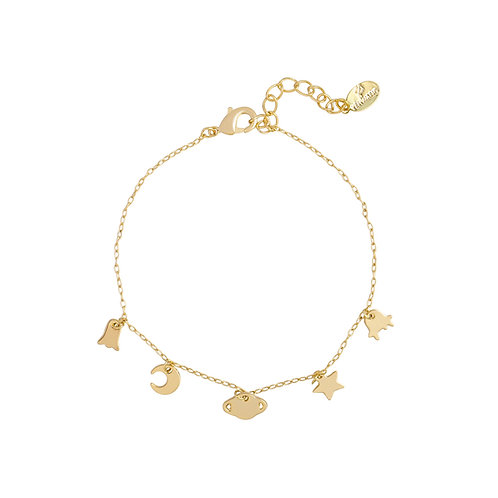 Little planet - armband in RVS zilver/goud