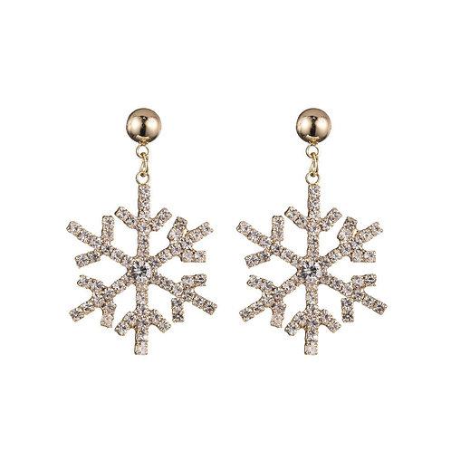 Sparkling snowflake - oorbellen in zilver/goud