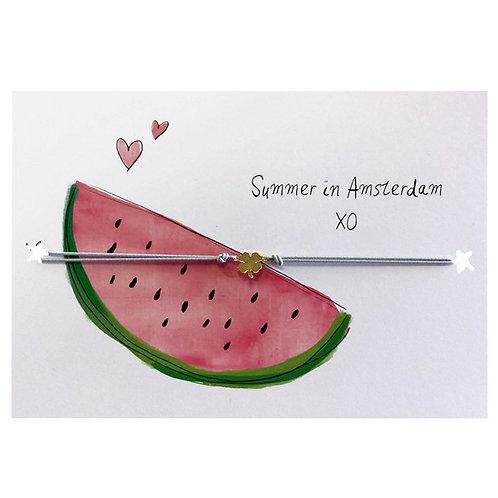 SUMMER IN AMSTERDAM - sieradenkaartje watermeloen mét sieraad