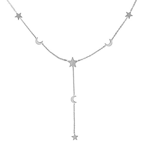 Moon and stars - ketting in RVS zilver/goud