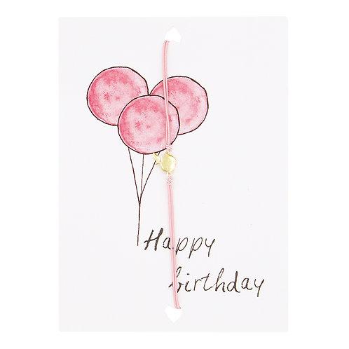 HAPPY BIRTHDAY, PINK BALLOONS - sieradenkaartje met sieraad