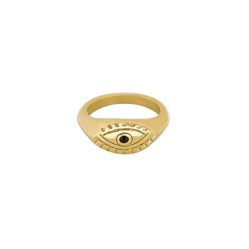Curious eye - ring in RVS zilver/goud